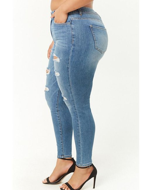 2648020aa59e ... Forever 21 - Blue Women's Plus Size Distressed Skinny Jeans ...