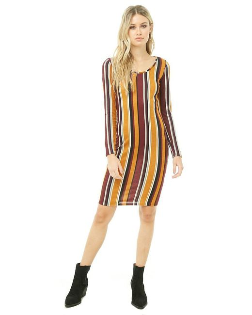 79557fe8048b Forever 21 - Multicolor Striped Brushed Knit Bodycon Dress - Lyst ...