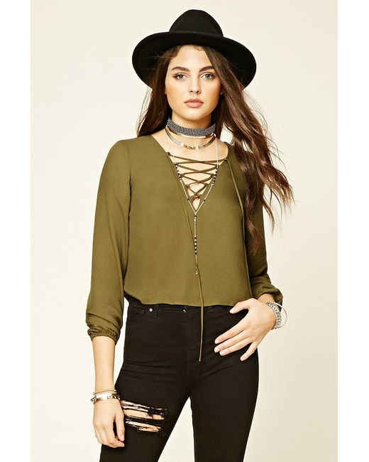 Forever 21 | Green V-neck Lace-up Blouse | Lyst