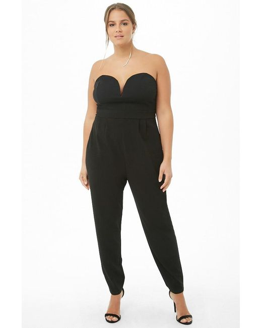 93fb32272bd8e ... Lyst Forever 21 - Black Women s Plus Size Harem Tube Jumpsuit ...