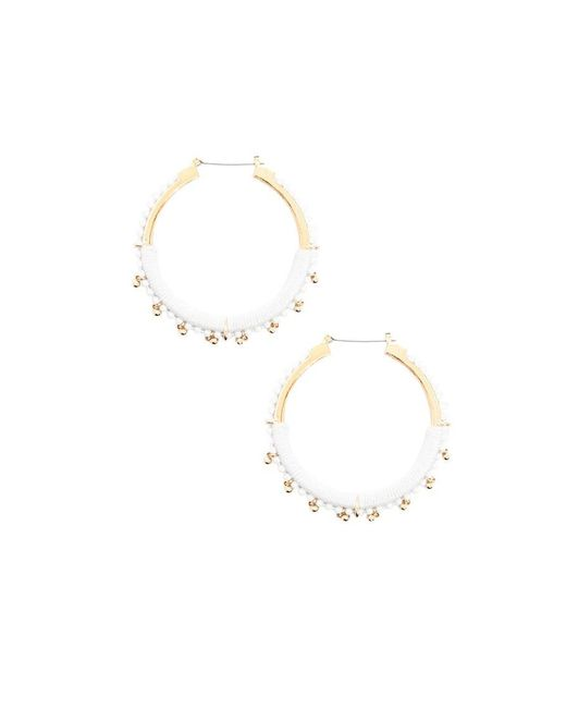 Forever 21 Metallic Bead Embellished Hoop Earrings Lyst