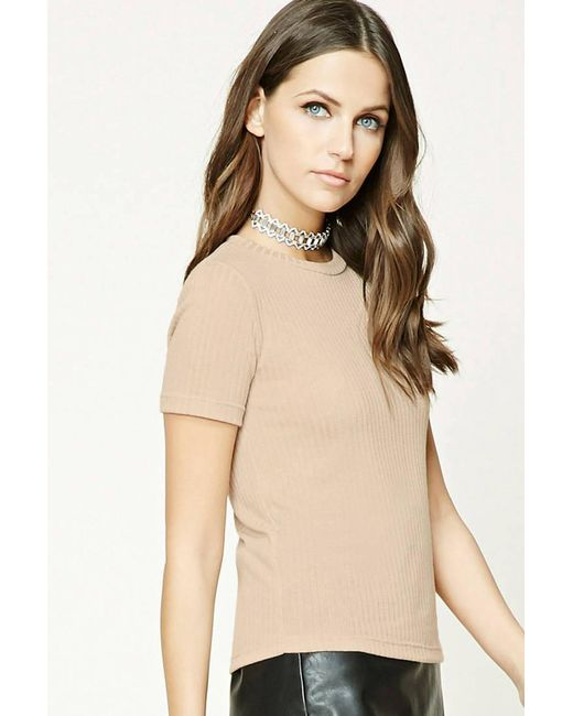 Lyst Forever 21 Ribbed Knit Top In Natural