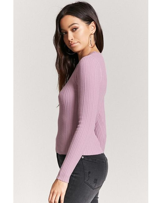 13ec2501984a0 ... Forever 21 - Pink Ribbed Knit Top - Lyst