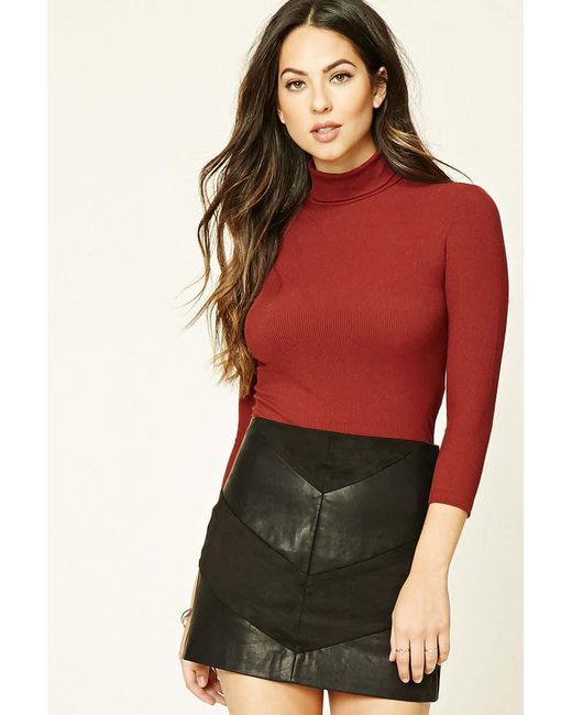 Lyst Forever 21 Turtleneck Knit Top In Red