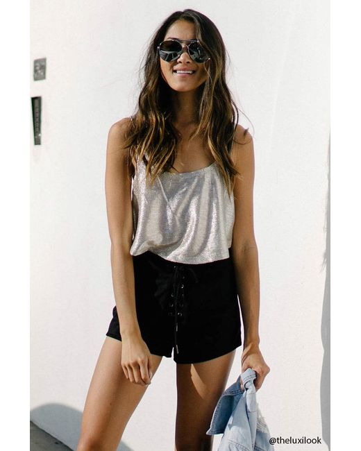 Forever 21 | Black Faux Suede Lace-up Shorts | Lyst
