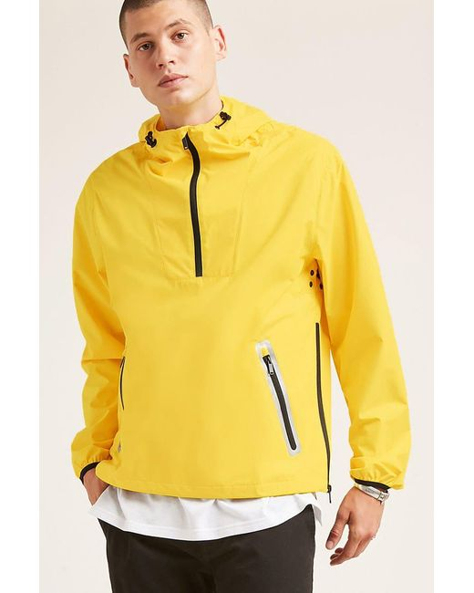 Forever 21 | Yellow Hooded Zip-hem Anorak for Men | Lyst