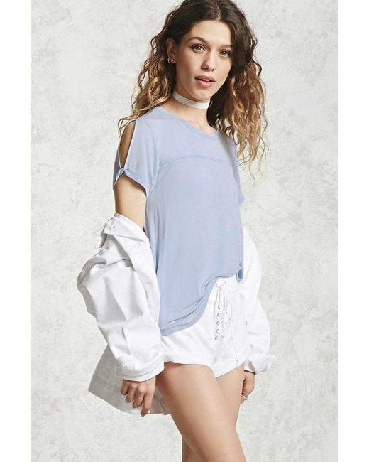 Forever 21 | Blue Faded Wash High-low Tee | Lyst