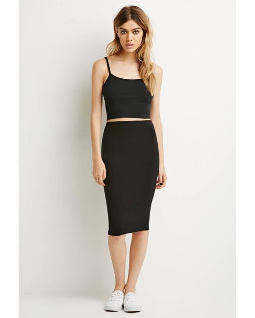 Forever 21   Black Stretch Knit Pencil Skirt   Lyst