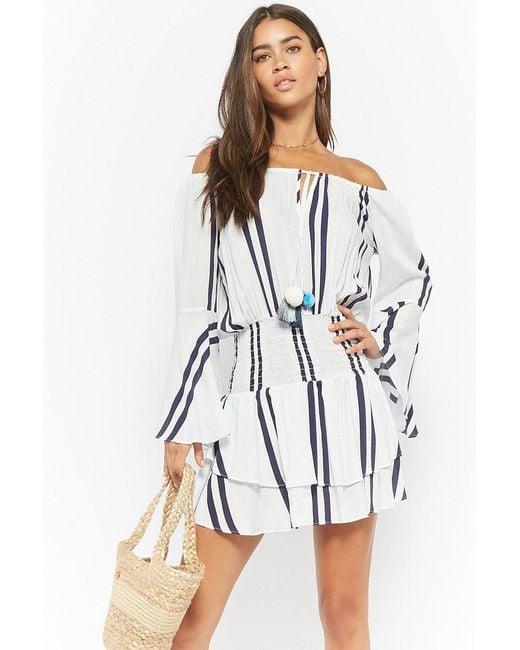 Forever 21 - Blue Surf Gypsy Striped Off-the-shoulder Dress - Lyst