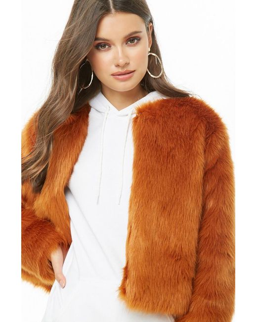 Forever 21 - Orange Faux Fur Coat - Lyst
