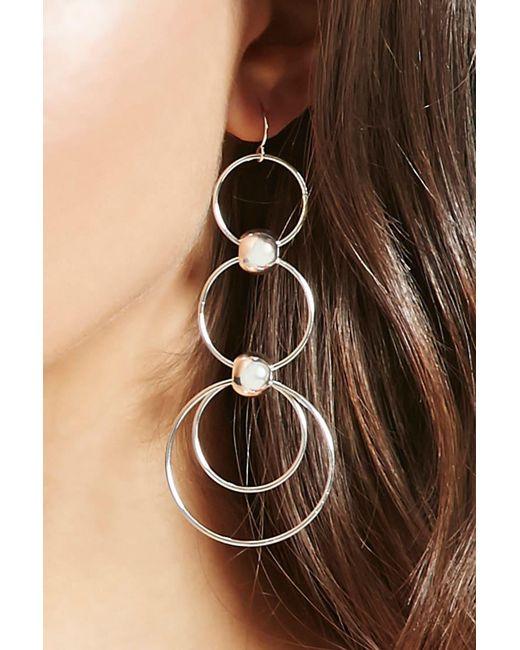 Forever 21 | Metallic Tiered Hoop Drop Earrings | Lyst