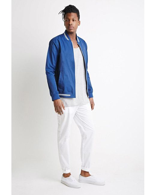 Forever 21 | Blue Varsity-striped Baseball Jacket for Men | Lyst