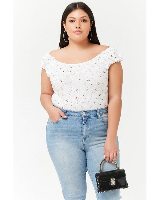 d9a63028beb8e Forever 21 - White Women s Plus Size Cherry Graphic Print Crop Top - Lyst  ...