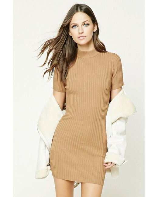 Forever 21 - Natural Ribbed Knit Mini Dress - Lyst