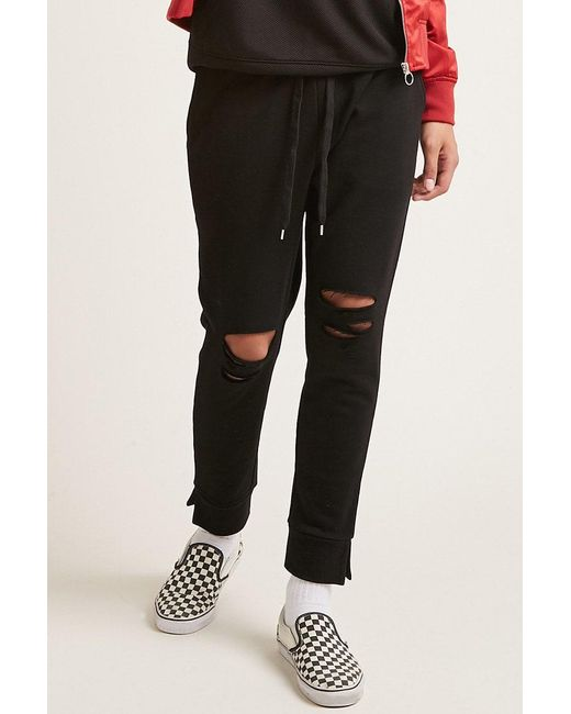 Forever 21 - Black Vented Fleece Sweatpants for Men - Lyst