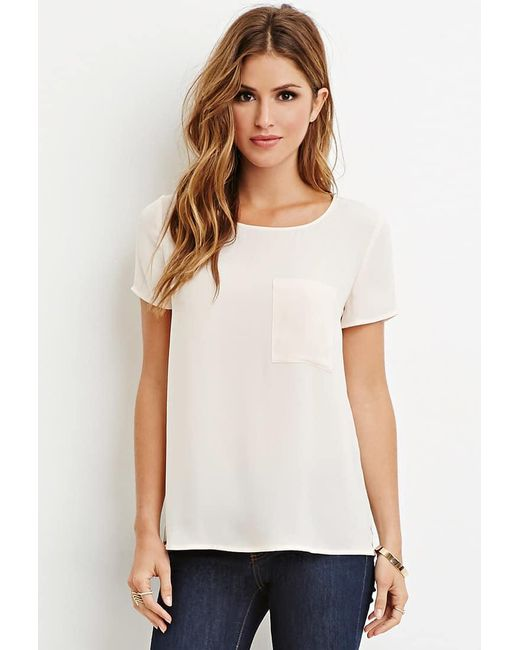Forever 21 | White Pocket Chiffon Top | Lyst