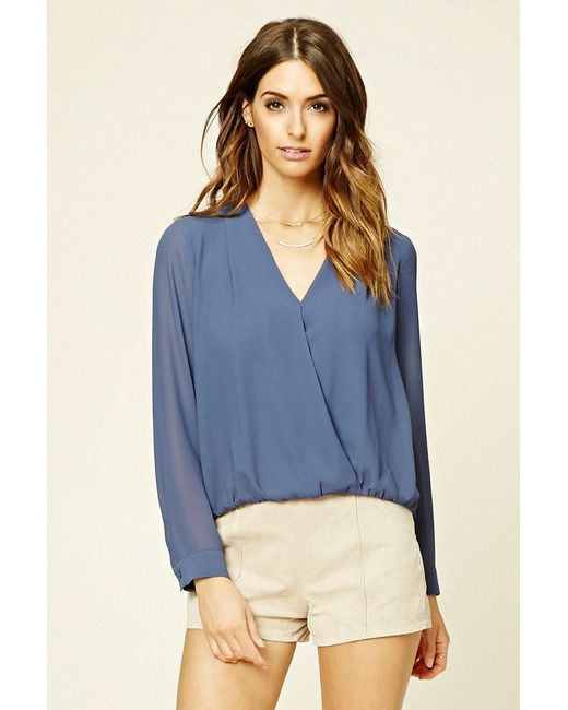 Forever 21 | Blue Semi-sheer Surplice Top | Lyst