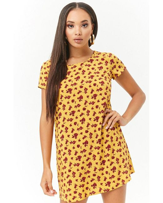Forever 21 - Yellow Women's Floral Print Shift Dress - Lyst