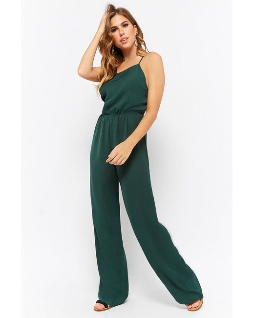 7051ae97bc6 Forever 21 - Green Crisscross Wide-leg Jumpsuit - Lyst ...