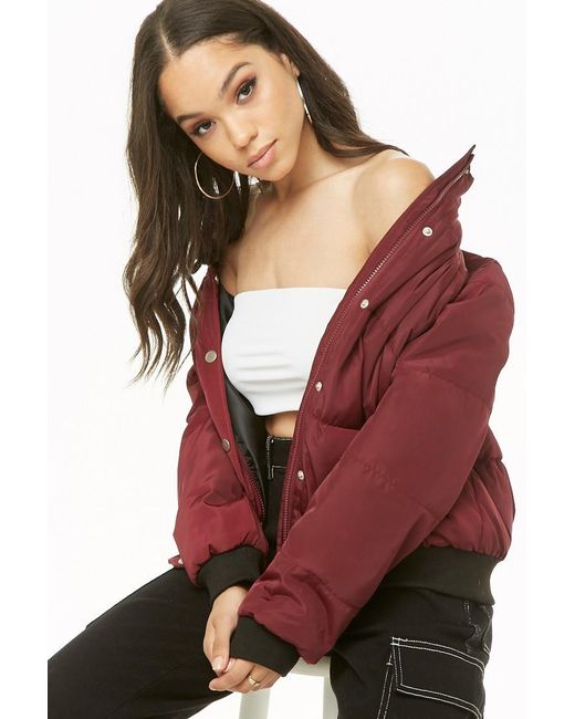 Forever 21 - Red Funnel Neck Puffer Jacket - Lyst