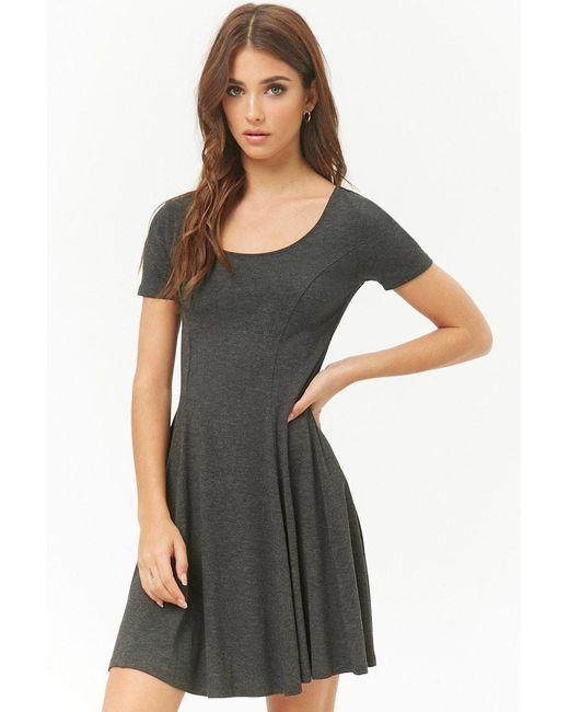 Forever 21 - Gray Women's Slub Knit Skater Dress - Lyst