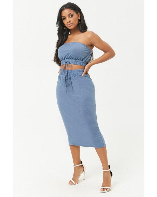 93357ed3339212 Forever 21 - Blue Women s Plus Size French Terry Cropped Tube Top   Midi  Skirt Set ...