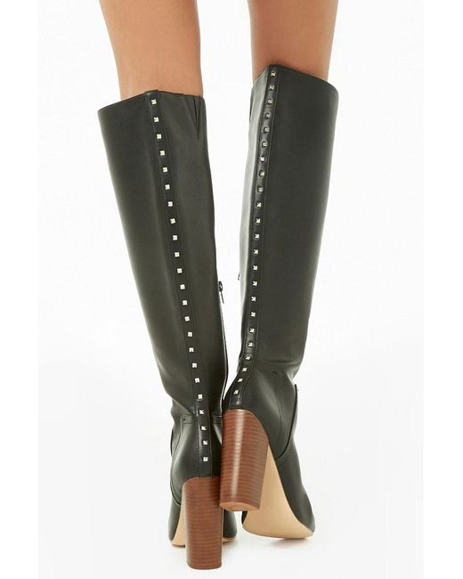 Forever 21 - Black Studded Faux Leather Boots - Lyst