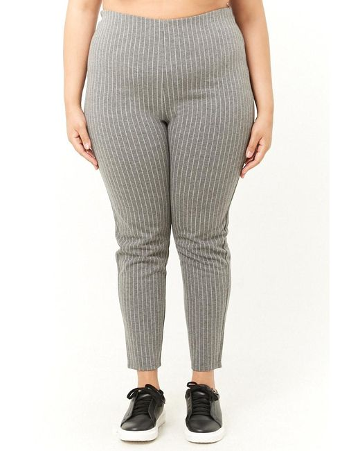 8ed06b7dcdfd0c Forever 21 Women's Plus Size Pinstriped Leggings in Gray - Save 50 ...
