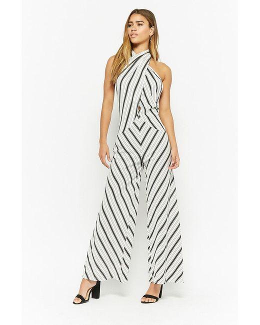 e55524c3fd5 Forever 21 - White Striped Flare-leg Jumpsuit - Lyst ...