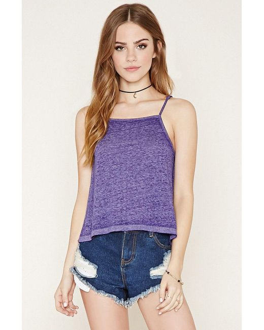 Forever 21 - Purple Burnout Crop Top - Lyst