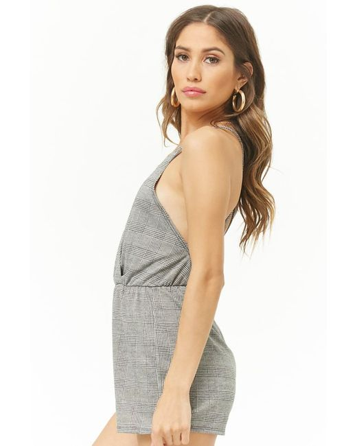 3489dc01eda ... Forever 21 - Gray Cross-back Glen Plaid Romper - Lyst ...