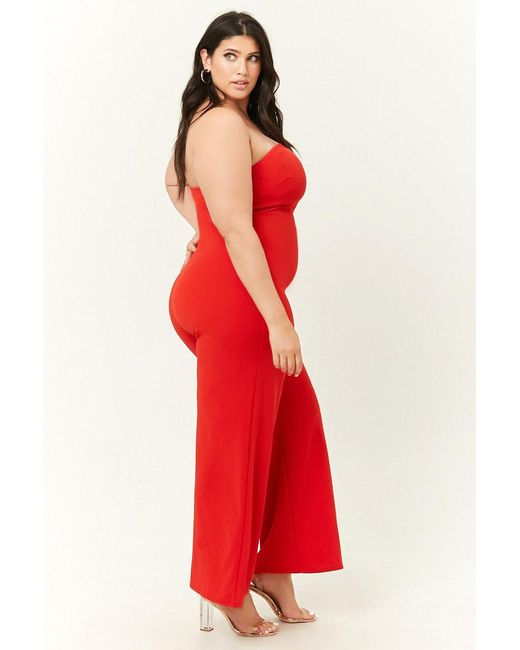 be2876476c59e ... Lyst Forever 21 - Red Women s Plus Size Tube Jumpsuit ...