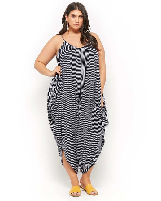 Blue Womens Plus Size Striped Harem Jumpsuit