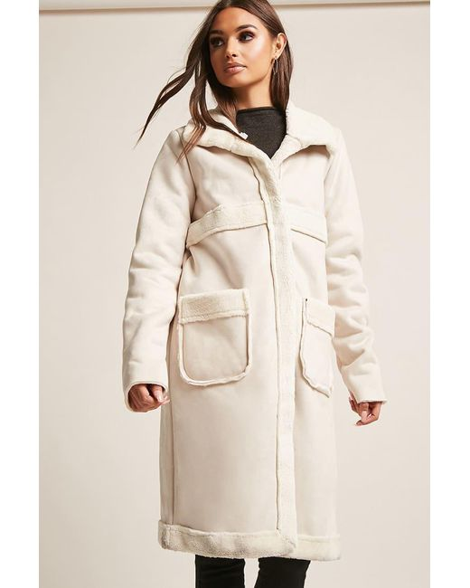 Forever 21 - Natural Goldie London Faux Shearling Coat - Lyst