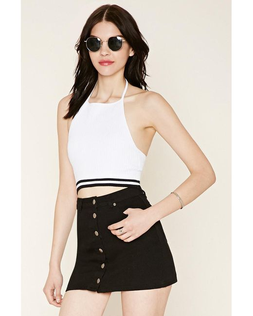 Forever 21 - White Sweater-knit Crop Top - Lyst