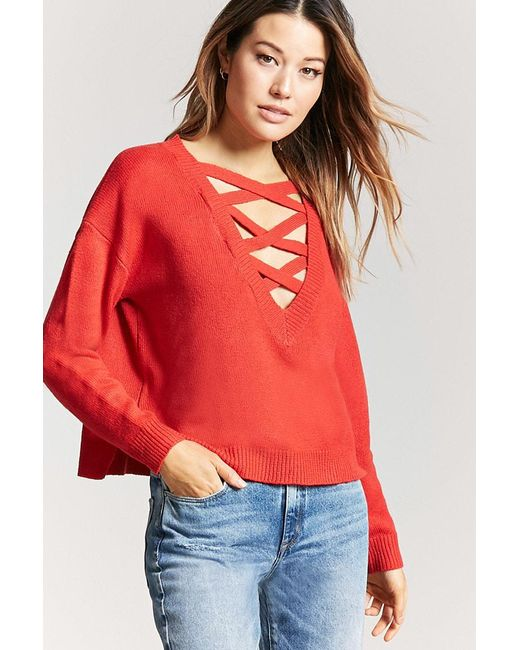 Lyst Forever 21 Strappy Jumper Knit Top In Red
