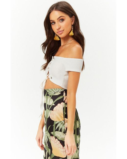 4a78e393e56450 ... Forever 21 - White Lace-up Off-the-shoulder Crop Top - Lyst