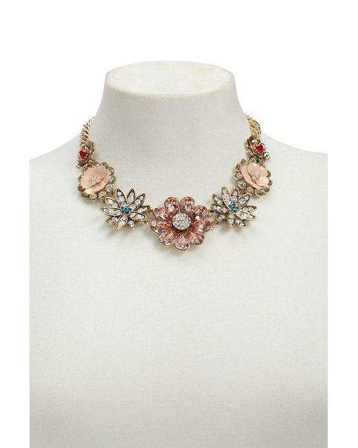 Forever 21 - Metallic Rhinestone Floral Statement Necklace - Lyst
