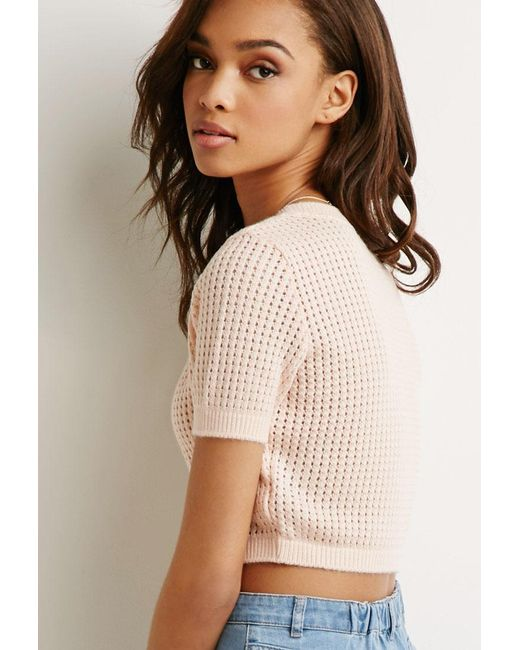 Forever 21 | Pink Cropped Open-knit Sweater | Lyst