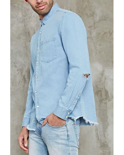 Forever 21   Blue Frayed Denim Shirt for Men   Lyst