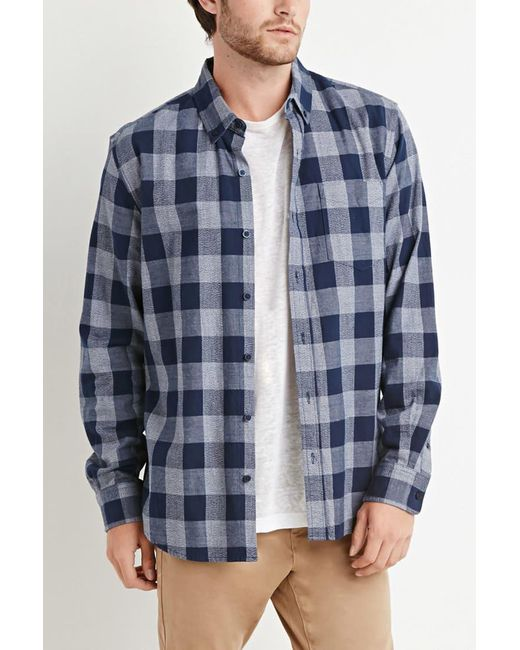 Forever 21   Blue Chambray-trimmed Gingham Shirt You've Been Added To The Waitlist for Men   Lyst