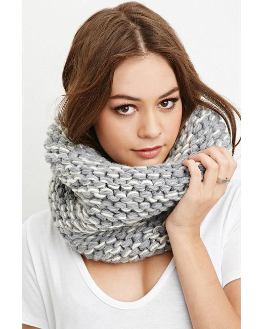 FOREVER21 - Gray Purl Knit Snood - Lyst