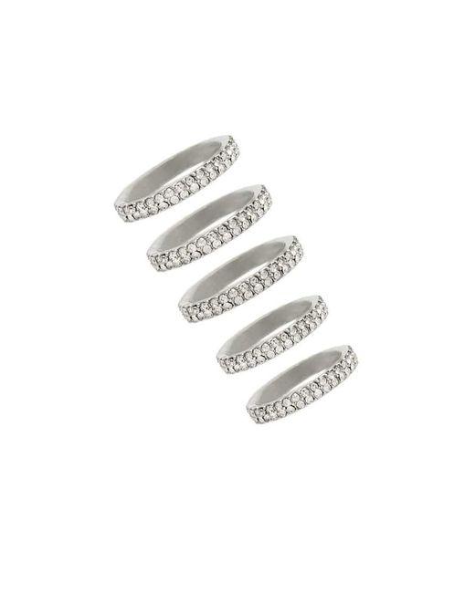 Forever 21 | Metallic Rhinestone Stackable Ring Set | Lyst