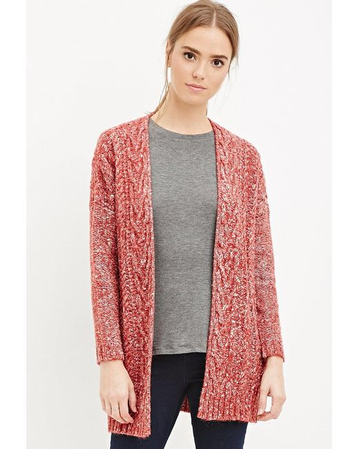 Forever 21 - Red Cable Knit Cardigan - Lyst