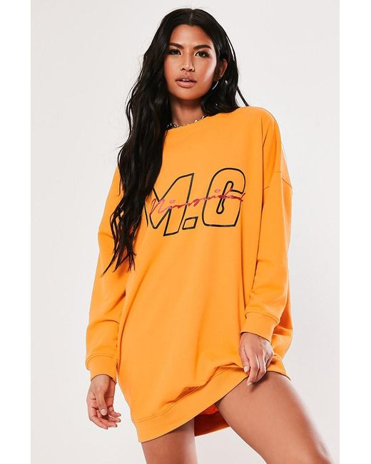 Missguided - Orange Mg Signature Sweater Dress At - Lyst
