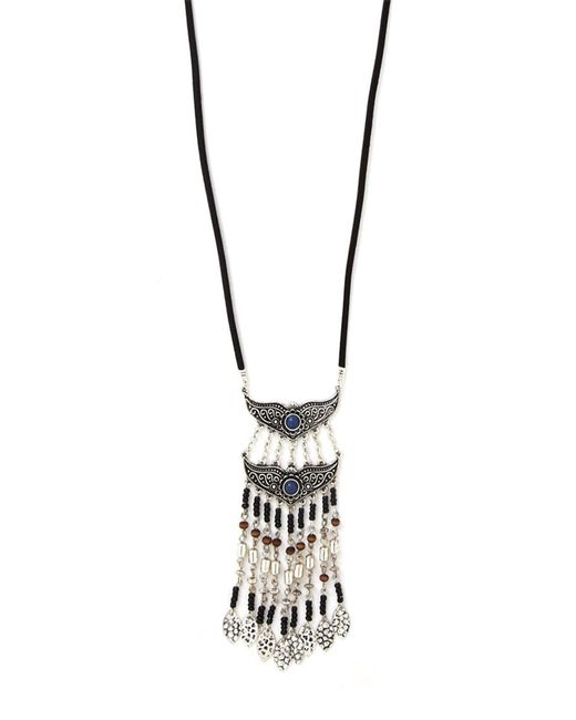 Forever 21 | Black Longline Faux Stone Necklace | Lyst
