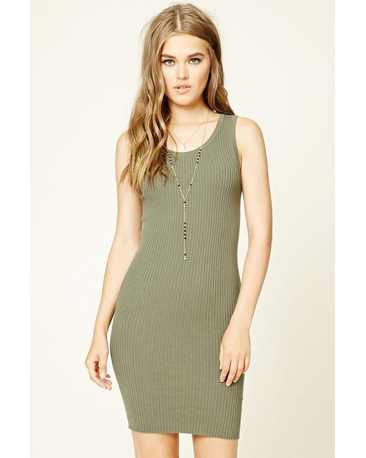 Forever 21 - Green Women's Ribbed Knit Bodycon Dress - Lyst