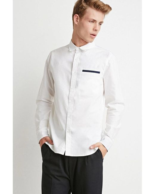 Forever 21 | White Contrast-trimmed Oxford Shirt for Men | Lyst