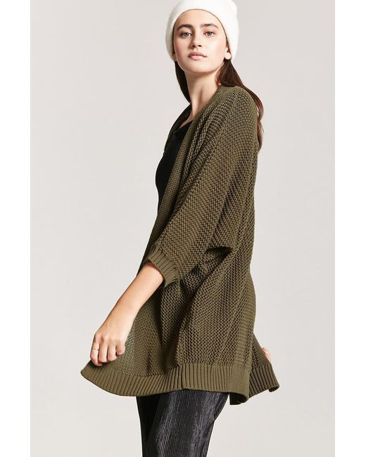 Forever 21 - Green Open-front Cardigan - Lyst