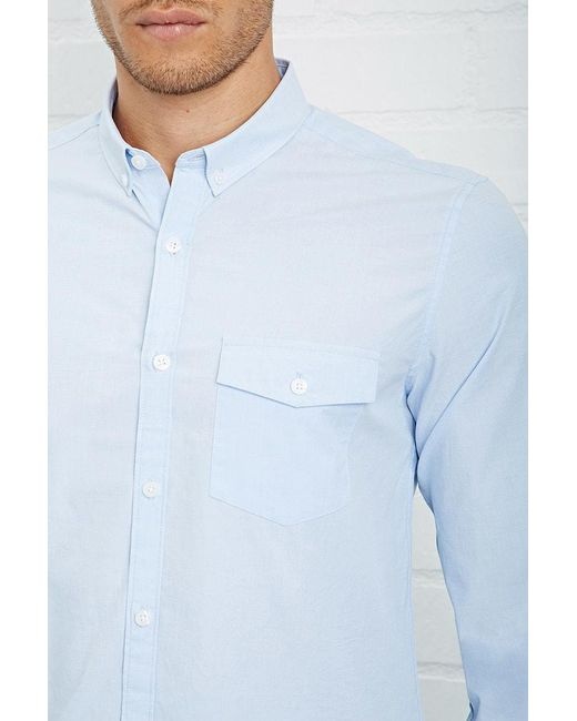 Forever 21 | Blue Fitted Button-down Shirt for Men | Lyst